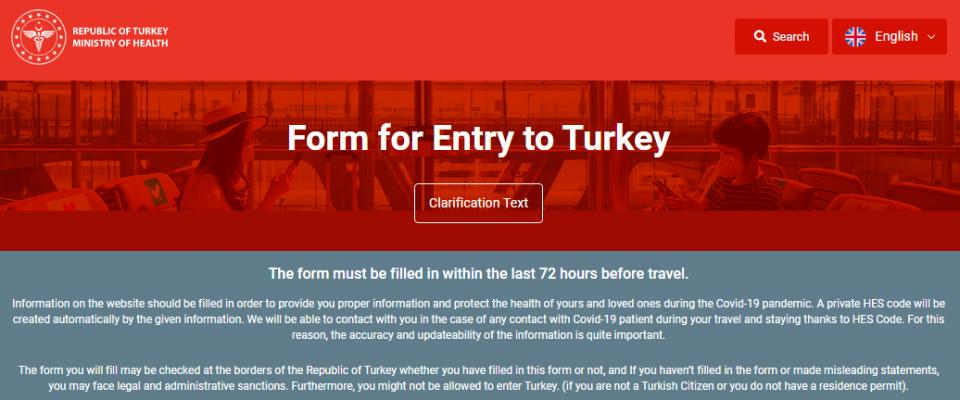 Türkiye girişlerinde online kayıt gerekliliği